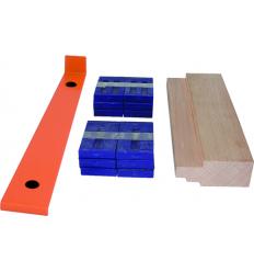 Kit pose parquet : cales PVC, pied de serrage, cale de frappe bois